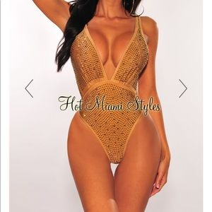 Unworn Rhinestone One Piece Swimsuit